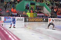 SPEEDSKATING: HAMAR: Vikingskipet, 28-02-2020, ISU World Speed Skating Championships, Sprint, 500m Men, Viktor Mushtakov (RUS), Tatsuya Shinhama (JPN), ©photo Martin de Jong
