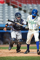 Trenton Thunder catcher Francisco Diaz (46) tags Rosell Herrera (7) to complete the strikeout during the first game of a doubleheader against the Hartford Yard Goats on June 1, 2016 at Sen. Thomas J. Dodd Memorial Stadium in Norwich, Connecticut.  Trenton defeated Hartford 4-2.  (Mike Janes/Four Seam Images)