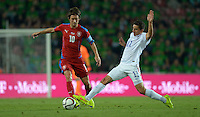 PRAGUE, Czech Republic - September 3, 2014: USA's Alejandro Bedoya and Tomas Rosicky of the Czech Republic during the international friendly match between the Czech Republic and the USA at Generali Arena.