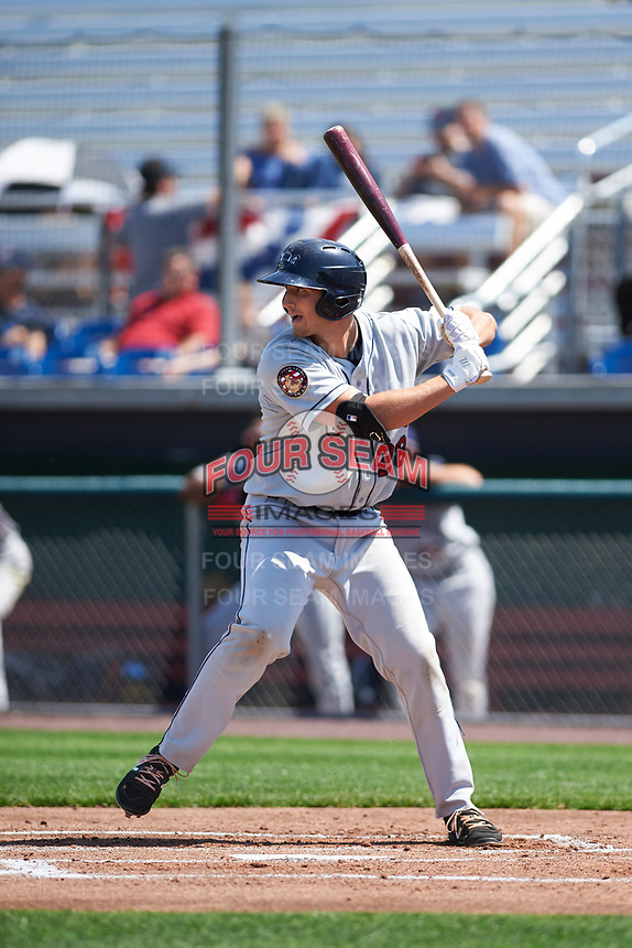 Mahoning Valley Scrappers designated hitter Simeon Lucas (28) at bat during the second game of a doubleheader against the Auburn Doubledays on July 2, 2017 at Falcon Park in Auburn, New York.  Mahoning Valley defeated Auburn 3-2.  (Mike Janes/Four Seam Images)