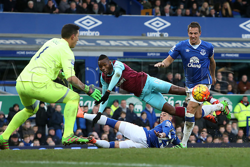 05.03.2016. Goodison Park, Liverpool, England. Barclays Premier League. Everton versus West Ham. Diafra Sakho of West Ham United is upended as he chases a loose ball in the Everton penalty area.
