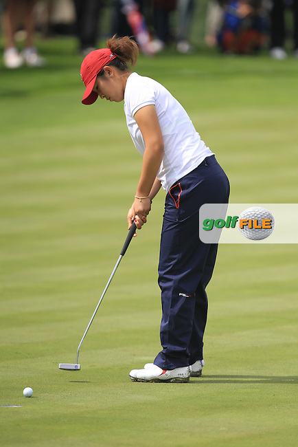 Andrea Lee on the 15th green during the Saturday Mourning Fourbsomes of the 2016 Curtis Cup at Dun Laoghaire Golf Club on Saturday 11th June 2016.<br /> Picture:  Golffile | Thos Caffrey