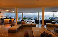 Lounge and terrace area looking out to the harbour at the Bannister Hotel and Yacht Club, Samana, Dominican Republic, in the Caribbean. Picture by Manuel Cohen