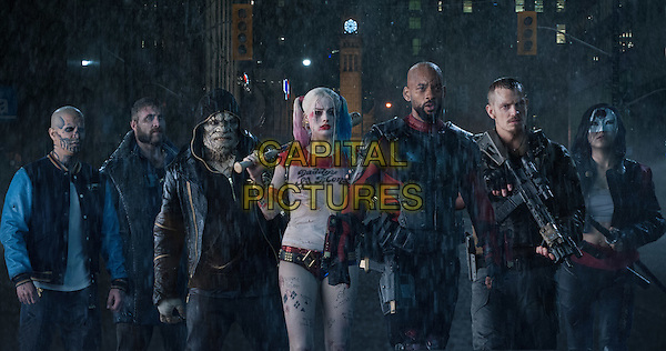 Suicide Squad (2016)<br /> JAY HERNANDEZ as Diablo, JAI COURTNEY as Captain Boomerang, ADEWALE AKINNUOYE-AGBAJE as Killer Croc, MARGOT ROBBIE as Harley Quinn, WILL SMITH as Deadshot, JOEL KINNAMAN as Rick Flag and KAREN FUKUHARA as Katana<br /> *Filmstill - Editorial Use Only*<br /> CAP/KFS<br /> Image supplied by Capital Pictures