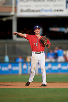 Harrisburg Senators third baseman Jake Noll (13) throws to first base during a game against the Akron RubberDucks on August 18, 2018 at FNB Field in Harrisburg, Pennsylvania.  Akron defeated Harrisburg 5-1.  (Mike Janes/Four Seam Images)