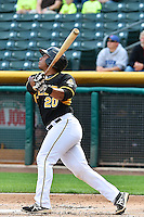 Luis Martinez (20) of the Salt Lake Bees at bat against the Memphis Redbirds at Smith's Ballpark on June 18, 2014 in Salt Lake City, Utah.  (Stephen Smith/Four Seam Images)