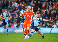 Blackpool's Mark Cullen is tackled by Wycombe Wanderers' Max Muller<br /> <br /> Photographer Kevin Barnes/CameraSport<br /> <br /> The EFL Sky Bet League Two - Wycombe Wanderers v Blackpool - Saturday 11th March 2017 - Adams Park - Wycombe<br /> <br /> World Copyright &copy; 2017 CameraSport. All rights reserved. 43 Linden Ave. Countesthorpe. Leicester. England. LE8 5PG - Tel: +44 (0) 116 277 4147 - admin@camerasport.com - www.camerasport.com