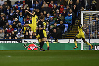 Tom Flanagan of Burton Albion celebrates scoring their first goal during the Sky Bet Championship match between Reading and Burton Albion at the Madejski Stadium, Reading, England on 23 December 2017. Photo by Paul Paxford.