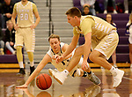 SIOUX FALLS, SD - NOVEMBER 25: Zach Wessels #11 from the University of Sioux Falls dives for the loose ball against Ryan Bruggeman #3 from Southwest Minnesota State University during their game Saturday night at the Stewart Center in Sioux Falls. (Photo by Dave Eggen/Inertia)