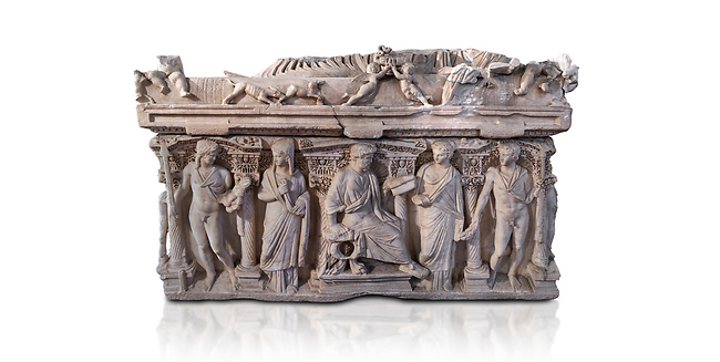 "Side panel of a Roman relief sculpted sarcophagus with kline couch lid, ""Columned Sarcophagi of Asia Minor"" style typical of Sidamara, 3rd Century AD, Konya Archaeological Museum, Turkey. Against a white background."