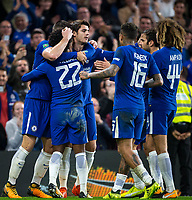 Teammates celebrate with goal scorer Willian (22) of Chelsea during the Carabao Cup round of 16 match between Chelsea and Everton at Stamford Bridge, London, England on 25 October 2017. Photo by Andy Rowland.