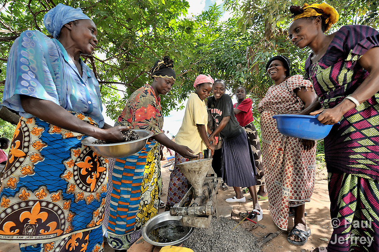 A group of Congolese women, with help from the UNited Methodist Committee on Relief, have formed a coop to harvest and extract sunflower oil.