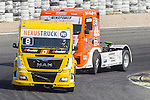 French driver Anthony Janiec belonging Portugese team Lion Truck Racing German driver Sascha Lenz belonging German team Sascha Lenz during the third race R3 of the XXX Spain GP Camion of the FIA European Truck Racing Championship 2016 in Madrid. October 02, 2016. (ALTERPHOTOS/Rodrigo Jimenez)