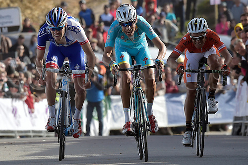 21.02.2016. Almodovor, Algarve, Portugal.  ARU Fabio (ITA)  of ASTANA PRO TEAM, PINOT Thibaut (FRA)  of FDJ cross the finish line during stage 5 of the 42nd Tour of Algarve cycling race with start in Almodovar and finish in Malhao (Loule) on February 21, 2016 in Malhao, Portugal.