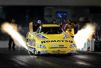 Sept. 17, 2010; Concord, NC, USA; NHRA funny car driver Tony Pedregon launches off the starting line during qualifying for the O'Reilly Auto Parts NHRA Nationals at zMax Dragway. Mandatory Credit: Mark J. Rebilas/
