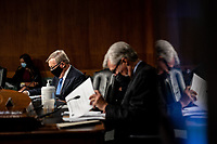 """United States Senator Dick Durbin (Democrat of Illinois) and United States Senator Sheldon Whitehouse (Democrat of Rhode Island) attend a US Senate Judiciary Committee Hearing """"to examine COVID-19 fraud, focusing on law enforcement's response to those exploiting the pandemic"""" on Capitol Hill in Washington, DC on June 9, 2020. <br /> Credit: Erin Schaff / Pool via CNP/AdMedia"""