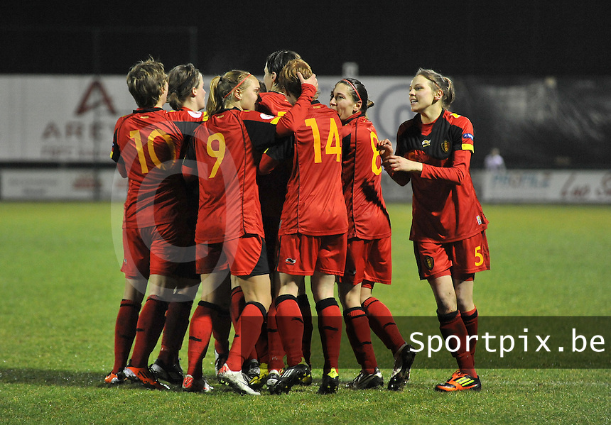 UEFA Women's Euro Qualifying group stage (Group 3) -  KFC Dessel - Armand Melis Stadion : BELGIUM -Northern Ireland ( Belgie - Noord Ierland ) : vreugde bij de belgen na de 2-1..foto DAVID CATRY / Vrouwenteam.be / Loft6.be