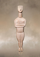 Cycladic Canonical type, Spedos variety female figurine statuette from Naxos or Keros. Early Cycladic Period II, (2800-2300 BC), 'Goulandris Master'.  Museum of Cycladic Art Athens, <br /> <br /> The 'Goulandris Master' was named because of the N.P Goulandris collection which had a significat number of Cycladic figureines attributed to one sculptor. The characteristic traits of his work are : statues of 32 to 98 cm tall, precise incisions demarcating the neck, the abdomen and pubic triangle asv well as knees and spinal column, the statues have a rounded outline. Traces of colour were found on the statue.