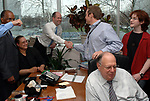 MELVILLE,NY-MONDAY APRIL 16, 2007: Coworkers gathered in the office of James M. Klurfeld, Editor of the Editorial Pages, at Newsday in Melville on Monday April 16, 2007, congratulate Newsday Cartoonist, Walter Handelsman for winning a Pulitzer for his Editorial Cartoons. Photo by/Jim Peppler.