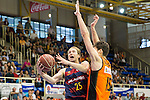 FC Barcelona Lassa's Petteri Koponen and Montakit Fuenlabrada's Jose Gonzalez during the match of Endesa ACB League between Fuenlabrada Montakit and FC Barcelona Lassa at Fernando Martin Stadium in fuelnabrada,  Madrid, Spain. October 30, 2016. (ALTERPHOTOS/Rodrigo Jimenez)