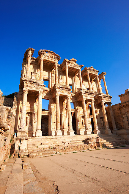 Picture Photo of The library of Celsus. Images of the Roman ruins of Ephasus, Turkey. Stock Picture & Photo art prints
