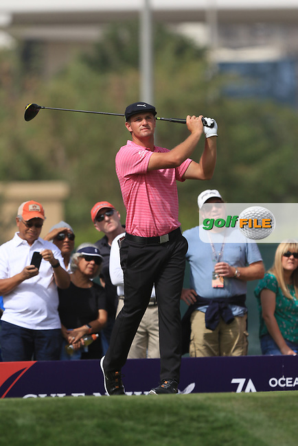 Bryson Dechambeau (USA) on the 3rd tee during Round 2 of the Omega Dubai Desert Classic, Emirates Golf Club, Dubai,  United Arab Emirates. 25/01/2019<br /> Picture: Golffile | Thos Caffrey<br /> <br /> <br /> All photo usage must carry mandatory copyright credit (&copy; Golffile | Thos Caffrey)