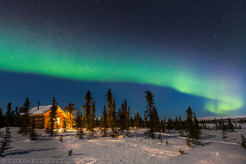 The northern lights arc over the Colorado Creek cabin and winter night in the White Mountains National Recreation Area, Interior, Alaska.