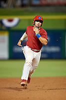 Clearwater Threshers catcher Edgar Cabral (30) runs the bases during a game against the Dunedin Blue Jays on April 6, 2018 at Spectrum Field in Clearwater, Florida.  Clearwater defeated Dunedin 8-0.  (Mike Janes/Four Seam Images)