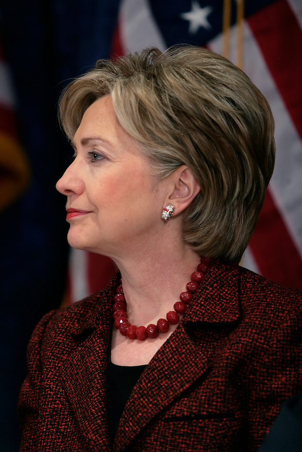 Democratic Presidential candidate, Sen. Hillary Rodham Clinton during a news conference with military officers in Washington.<br /> Photo by Brooks Kraft/Corbis