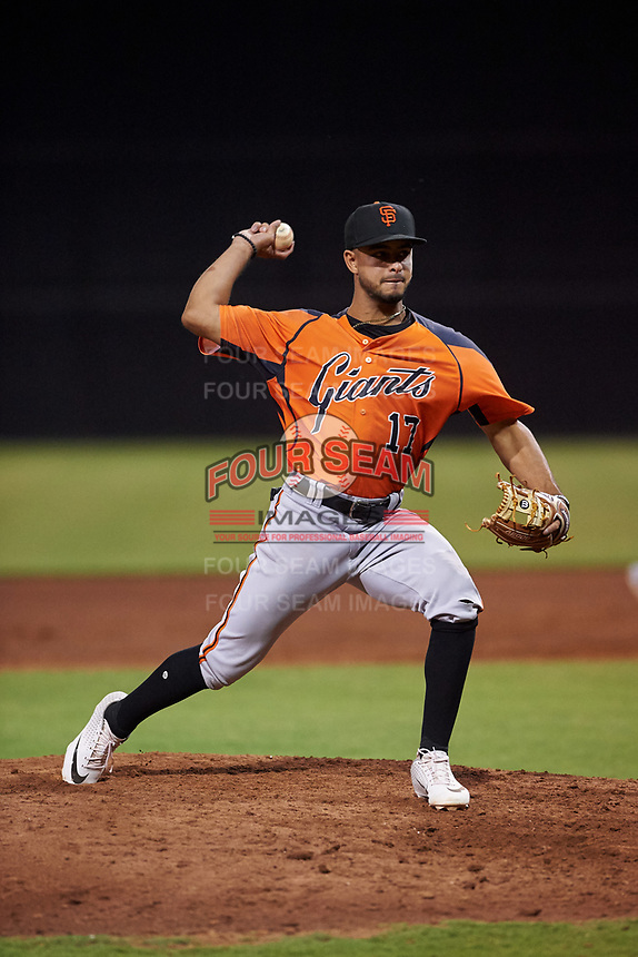AZL Giants Orange Enoc Watts (17) pitches in the eighth inning after being moved from shortstop during an Arizona League game against the AZL Giants Black on July 19, 2019 at the Giants Baseball Complex in Scottsdale, Arizona. The AZL Giants Black defeated the AZL Giants Orange 8-5. (Zachary Lucy/Four Seam Images)