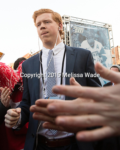 Chase Phelps (BU - 12) - The teams walked the red carpet through the Fan Fest outside TD Garden prior to the Frozen Four final on Saturday, April 11, 2015, in Boston, Massachusetts.