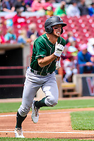Great Lakes Loons shortstop Brandon Montgomery (6) races to first base during a Midwest League game against the Wisconsin Timber Rattlers on May 12, 2018 at Fox Cities Stadium in Appleton, Wisconsin. Wisconsin defeated Great Lakes 3-1. (Brad Krause/Four Seam Images)