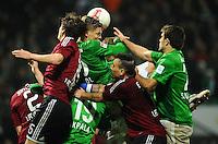 FUSSBALL   1. BUNDESLIGA    SAISON 2012/2013    17. Spieltag   SV Werder Bremen - 1. FC Nuernberg                     16.12.2012 Timm Klose (li) und Timo Gebhardt (re, beide 1 FC Nuernberg) gegen Sebastian Proedl (Mitte) und Sokratis Papastathopoulos (re, beide SV Werder Bremen) xxNOxMODELxRELEASExx