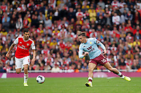 Jack Grealish of Aston Villa passing the ball during the Premier League match between Arsenal and Aston Villa at the Emirates Stadium, London, England on 22 September 2019. Photo by Carlton Myrie / PRiME Media Images.