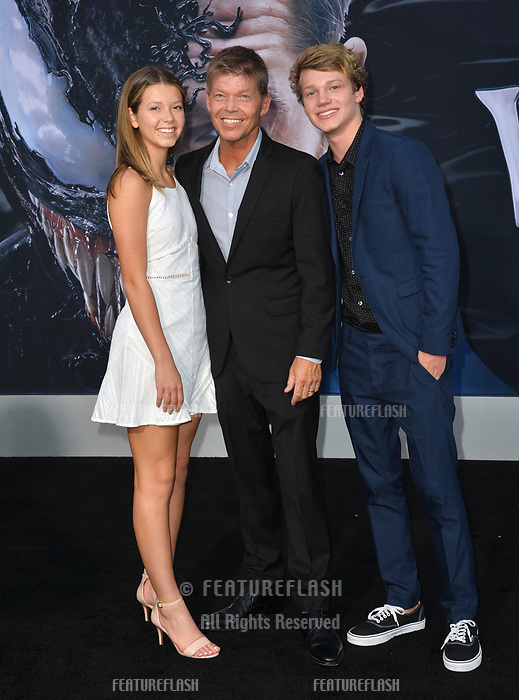 "LOS ANGELES, CA. October 01, 2018: Rob Liefeld, Olivia Liefeld & Chase Liefeld at the world premiere for ""Venom"" at the Regency Village Theatre.<br /> Picture: Paul Smith/FeatureflashLOS ANGELES, CA. October 01, 2018: Rob Liefeld & Family at the world premiere for ""Venom"" at the Regency Village Theatre.<br /> Picture: Paul Smith/Featureflash"
