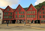 Historic Hanseatic League wooden buildings Bryggen area, Bergen, Norway UNESCO World Cultural Heritage site