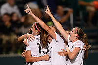 Portland Thorns forward Christine Sinclair (12) celebrates scoring with teammates . The Portland Thorns defeated the Western New York Flash 2-0 during the National Women's Soccer League (NWSL) finals at Sahlen's Stadium in Rochester, NY, on August 31, 2013.