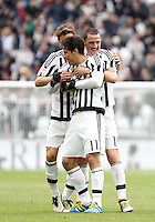 Calcio, Serie A: Juventus vs Carpi. Torino, Juventus Stadium, 1 maggio 2016.<br /> Juventus' Hernanes, center, celebrates with teammates Daniele Rugani, left, and Leonardo Bonucci, after scoring during the Italian Serie A football match between Juventus and Carpi at Turin's Juventus Stadium, 1 May 2016.<br /> UPDATE IMAGES PRESS/Isabella Bonotto