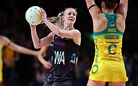 11.10.2017 Silver Ferns Shannon Francois in action during the Constellation Cup netball match between the Silver Ferns and Australia at Titanium Security Arena in Adelaide. Mandatory Photo Credit ©Michael Bradley.