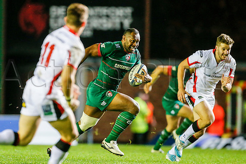 18.10.2014.  Leicester, England.  European Rugby Champions Cup. Leicester Tigers versus Ulster. Vereniki Goneva of Leicester Tigers on the ball.   Final score: Leicester Tigers 25-18 Ulster Rugby.