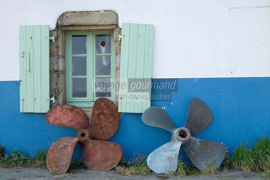 urope/France/Bretagne/56/Morbihan/Golfe du Morbihan/Ile-Aux-Moines/Port du Lério: Détail d'une  maison de pécheur