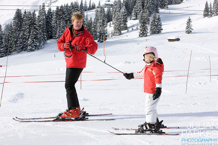Crown Prince Willem Alexander of Holland, with his Daughter, Princess Catharina Amalia attend a Photocall with Members of The Dutch Royal Family during their Winter Ski Holiday in Lech Austria