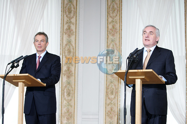 Dublin Ireland, British Prime Minister Tony Blair (L) speaking at there press conference in  Farmleigh House  in the Phoenix Park Dublin, after meeting with Irish Prime Minister Bertie Ahern.on issues relating to Northern Ireland assembley. 26/1/06.Photo AFP/NEWSFILE/FRAN CAFFREY..(Photo credit should read AFP PHOTO/FRAN CAFFREY/NEWSFILE)...This Picture has been sent you under the condtions enclosed by:.Newsfile Ltd..the Studio,.Millmount Abbey,.Drogheda,.Co Meath..Ireland..Tel: +353(0)41-9871240.Fax: +353(0)41-9871260.GSM: +353(0)86-2500958.email: pictures@newsfile.ie.www.newsfile.ie.FTP: 193.120.102.198..This picture is from Fran Caffrey@newsfile.ie