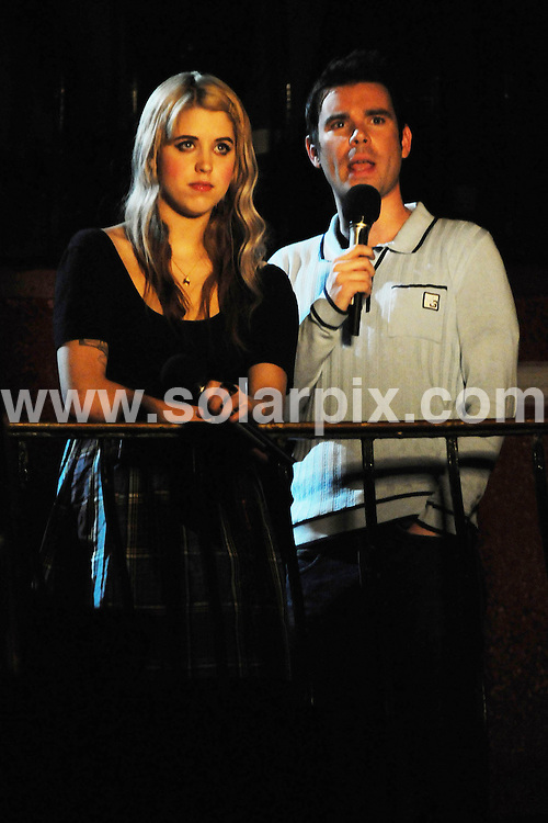 **ALL ROUND PICTURES FROM SOLARPIX.COM**.**WORLDWIDE SYNDICATION RIGHTS**.Peaches Geldof and Dave Berry pictured whilst filming a link for the forthcoming ITV broadcast of The iTunes Live Festival 2008.  .Held at Koko in Camden, London.  .JOB REF:6796-SSD     DATE:09_07_08.**MUST CREDIT SOLARPIX.COM OR DOUBLE FEE WILL BE CHARGED* *UNDER NO CIRCUMSTANCES IS THIS IMAGE TO BE REPRODUCED FOR ANY ONLINE EDITION WITHOUT PRIOR PERMISSION*