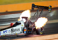 Oct 18, 2019; Ennis, TX, USA; NHRA top fuel driver Austin Prock during qualifying for the Fall Nationals at the Texas Motorplex. Mandatory Credit: Mark J. Rebilas-USA TODAY Sports