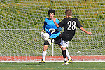 Torrance, CA 01/24/12 - Tyler Eliel (Peninsula #1) and Arthur Rietdyk (Peninsula #28) in action during the Peninsula vs West Torrance CIF Bay league game.