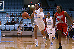 13 November 2015: North Carolina's Stephanie Watts (5) and Gardner-Webb's Kiera Currie (2). The University of North Carolina Tar Heels hosted the Gardner-Webb University Runnin' Bulldogs at Carmichael Arena in Chapel Hill, North Carolina in a 2015-16 NCAA Division I Women's Basketball game. Gardner-Webb won the game 66-65.