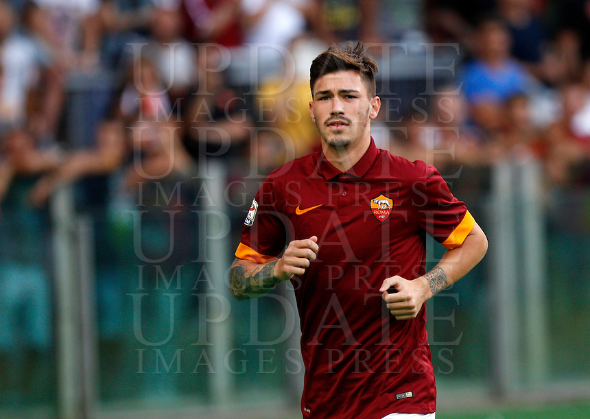 Calcio, amichevole Roma vs Fenerbahce. Roma, stadio Olimpico, 19 agosto 2014.<br /> Roma defender Alessio Romagnoli arrives for the team's presentation, prior to the friendly match between AS Roma and Fenerbahce at Rome's Olympic stadium, 19 August 2014.<br /> UPDATE IMAGES PRESS/Riccardo De Luca