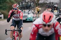 mid-race mini-bottle for Tim Wellens (BEL/Lotto-Soudal)<br /> <br /> 74th Omloop Het Nieuwsblad 2019 <br /> Gent to Ninove (BEL): 200km<br /> <br /> ©kramon