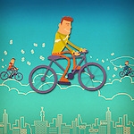 Business executives riding bicycles on clouds